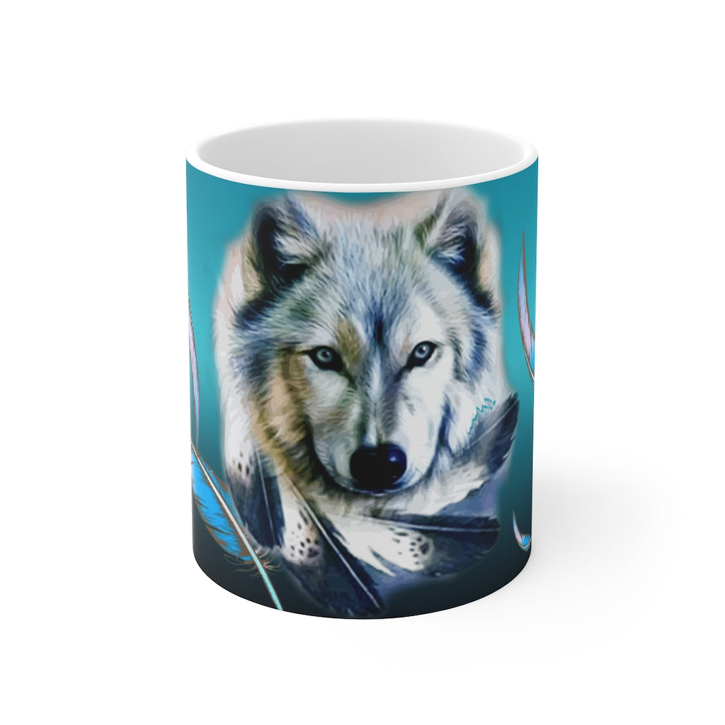 Turquoise Wolf Feather Mug 11oz