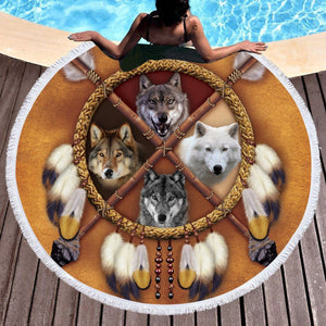 """4 Wolves"" Dreamcatcher Round Beach Towel"