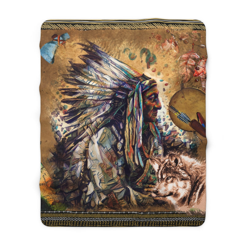 Wolf Warrior Sherpa Fleece Blanket