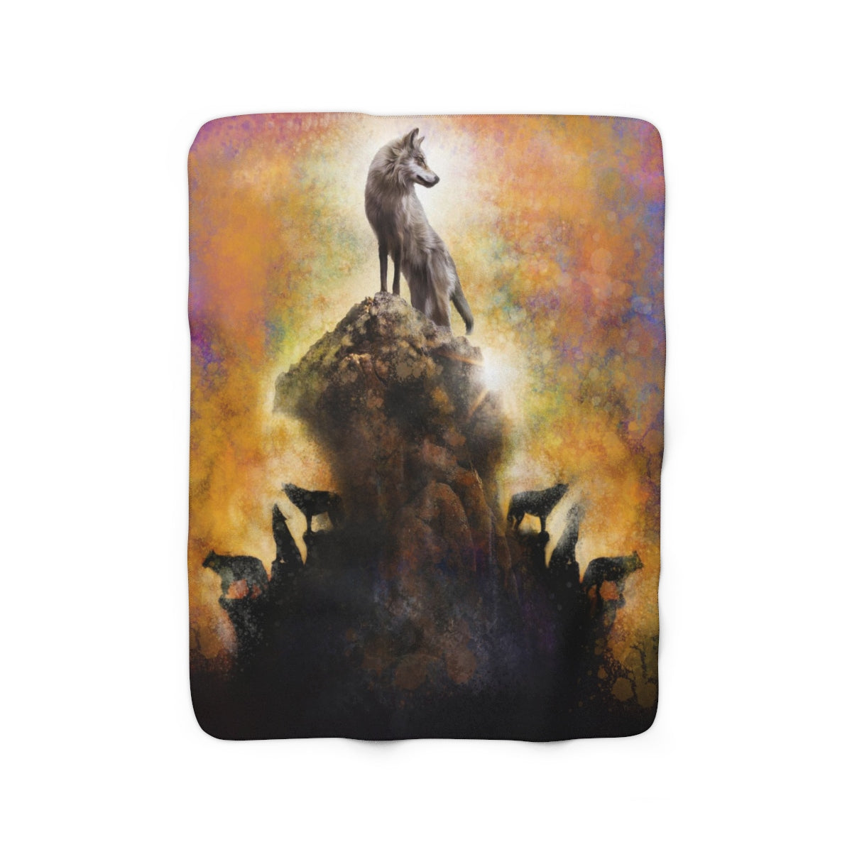 Wolf Amongst Us Yellow Sherpa Fleece Blanket