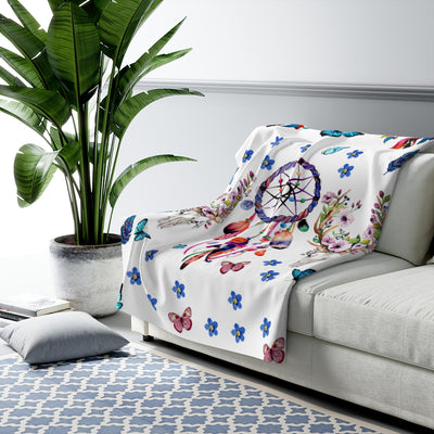 Floral Dreamcatcher Sherpa Fleece Blanket