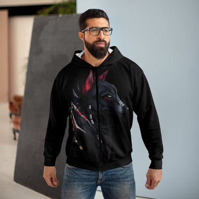Shaman Wolf All Over Print Zip Up Hoodie