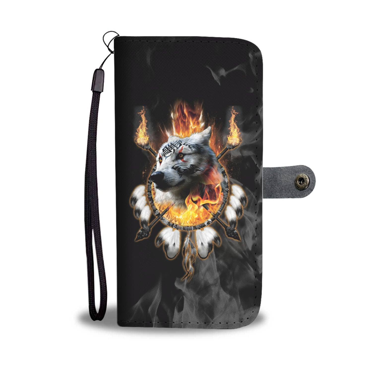 Fire Wolf Chief Wallet Phone Case
