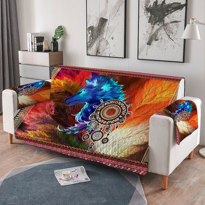 Storm Wolf Quilted Sofa Cover