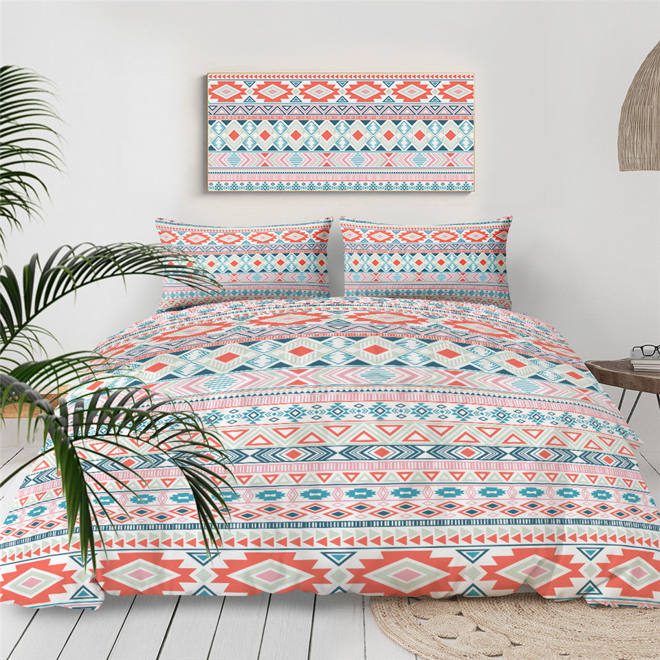 Aztec Bed Set Mayan Tribal Geometric Quilt Cover Colorful Ethnic Bedspreads Striped Traditional Pink Bedding Set