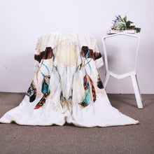 Load image into Gallery viewer, Skull Feather White Throw Blanket