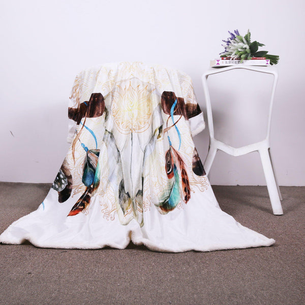Skull Feather White Throw Blanket