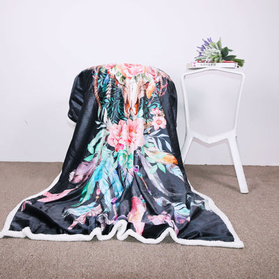 Black Skull Dreamcatcher Sherpa Blanket