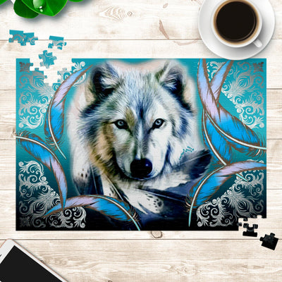 Turquoise Wolf Feather Jigsaw Puzzles