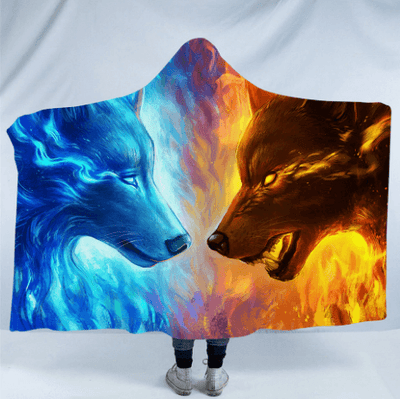 Fire and Ice by JoJoesArt Hooded Blanket 3D Wolves