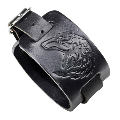 Grit of the Wolf Leather Bracelet