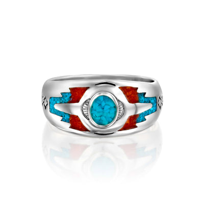 Wolvestuff's Sleeping Beauty Mountain Ring on a white background, The turquoise centre is very prominent and red arrow tips. .