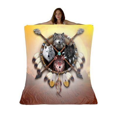 4 Wolves Warrior Light Sherpa Fleece Blanket