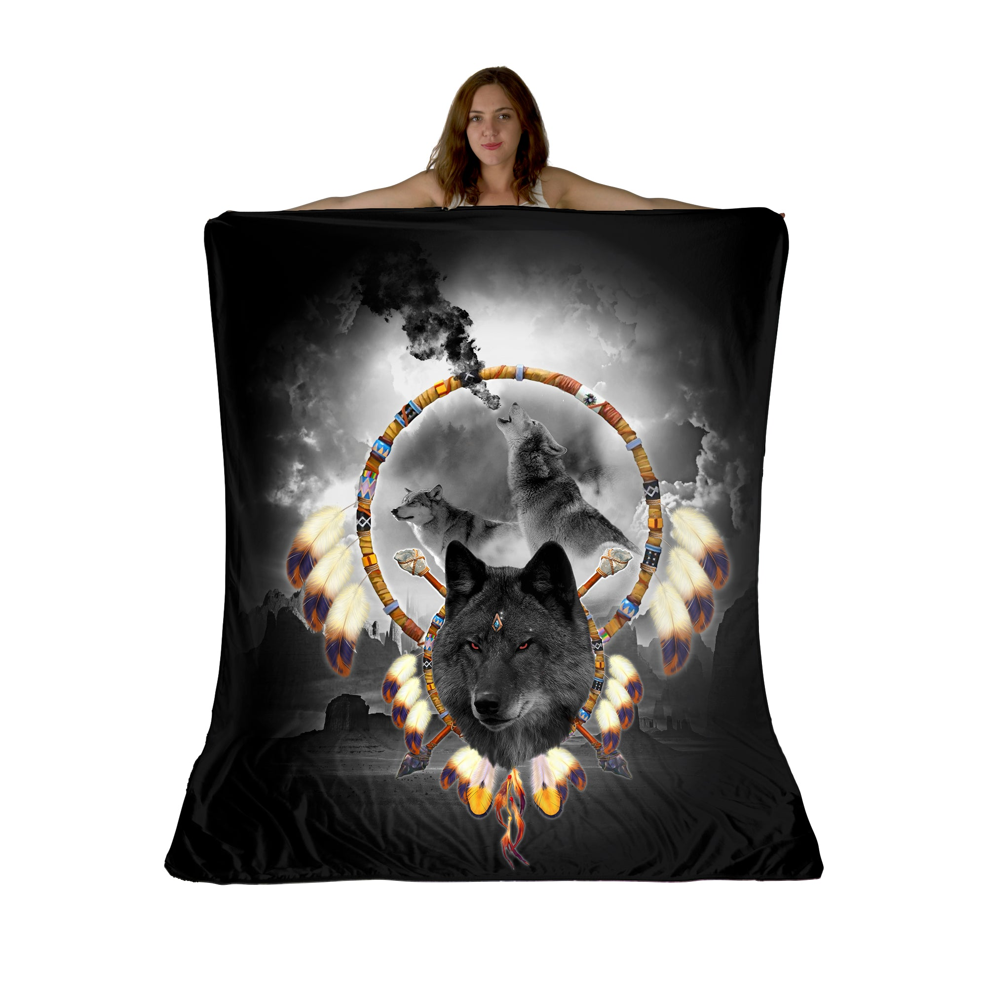 Alpha Wolf Sherpa Fleece Blanket