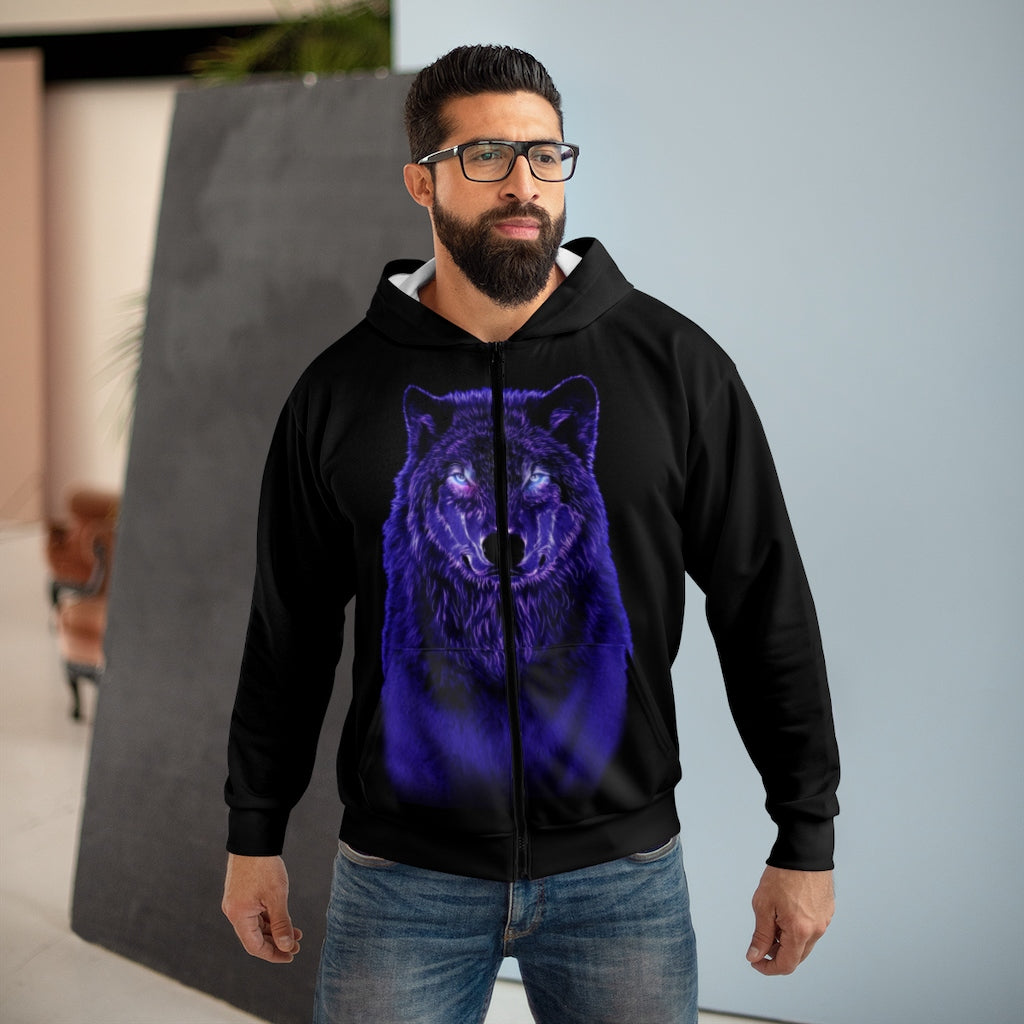 Brilliance Blue All Over Print Zip Hoodie