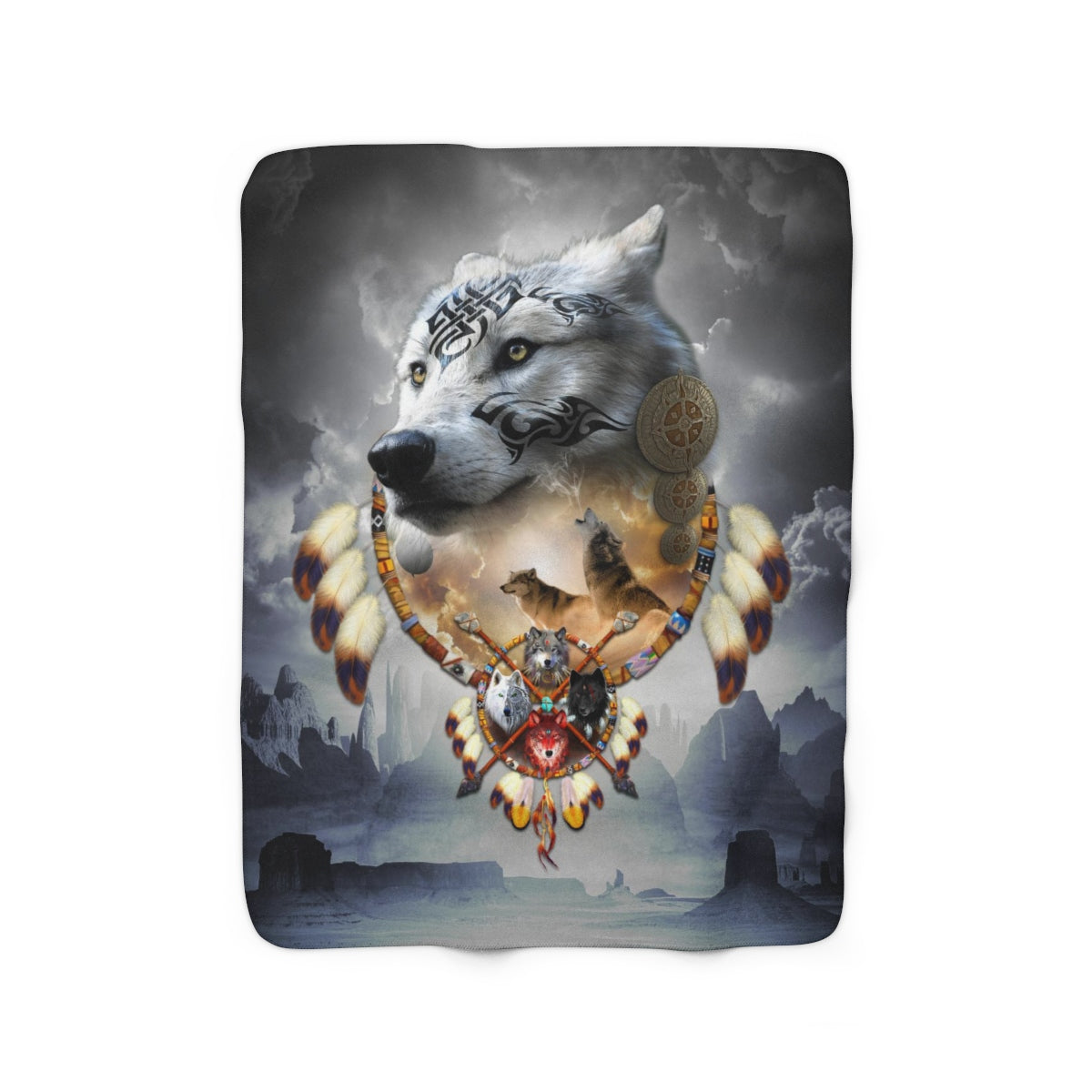 Song of Elder Warrior Dark Sherpa Fleece Blanket