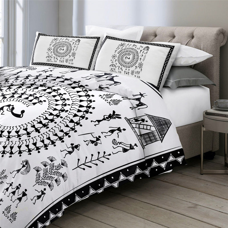 Traditional Bedding Sets Ancient Tribal Art Comforter Cover 3pcs India Rural Life Bed Set Black White Duvet Cover