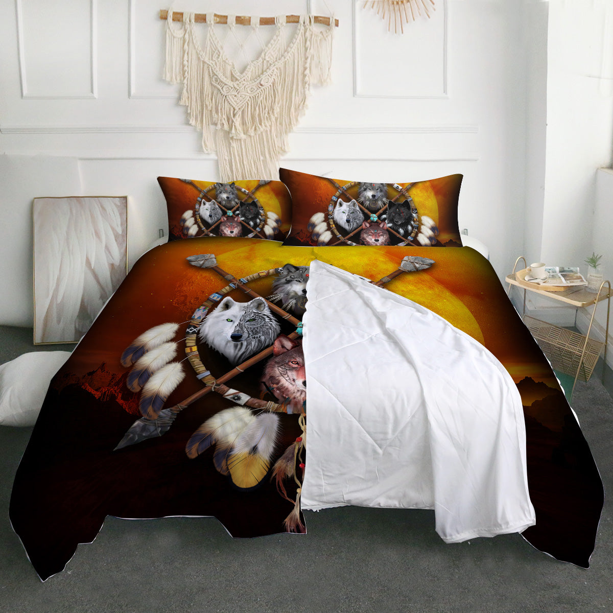 4 Wolves Warrior Dark Zipper Closure Duvet Set