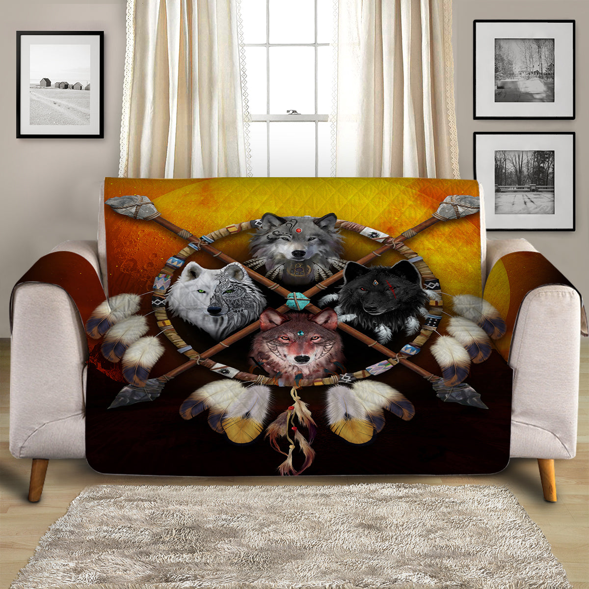 4 Wolves Warrior Dark Quilted Quilted Cover for Sofa, Chairs, Futons & Recliners