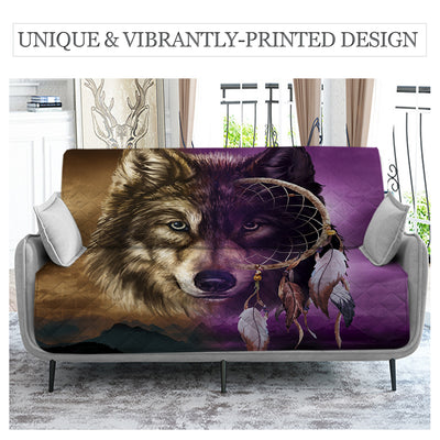 Wolf Dreamcatcher Face Quilted Sofa Cover