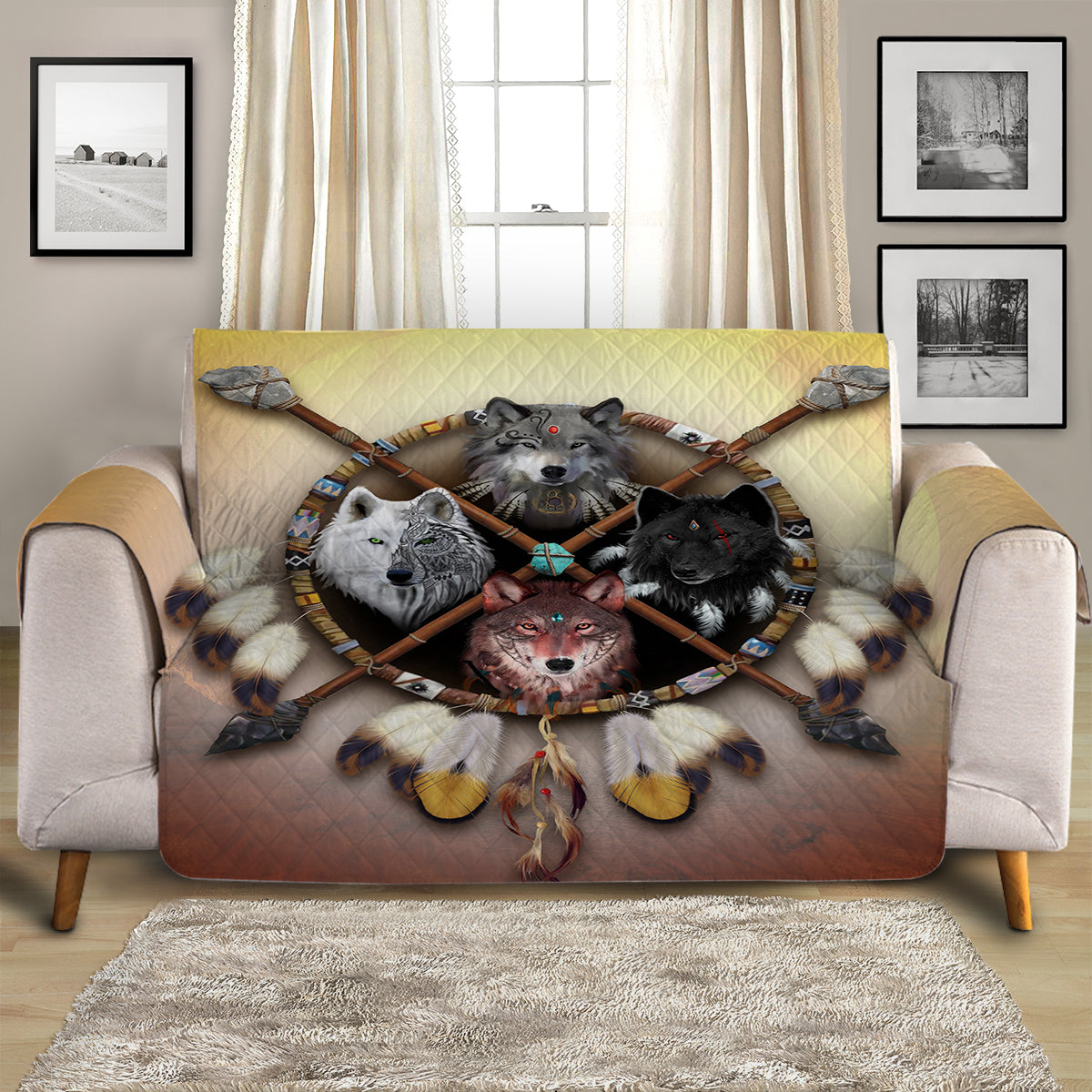 4 Wolves Warrior Light Quilted Cover for Sofa, Chairs, Futons & Recliners