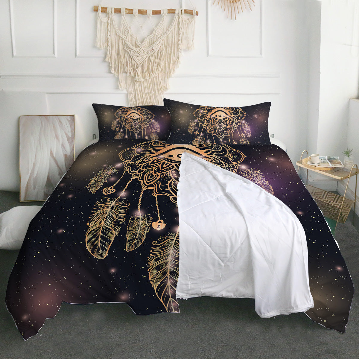 Dreamcatcher Purple/Black Zipper Closure Duvet Set