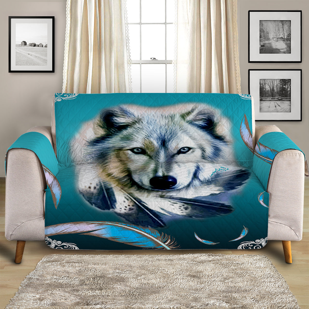 Turquoise Wolf Quilted Cover for Sofa, Chairs, Futons & Recliners