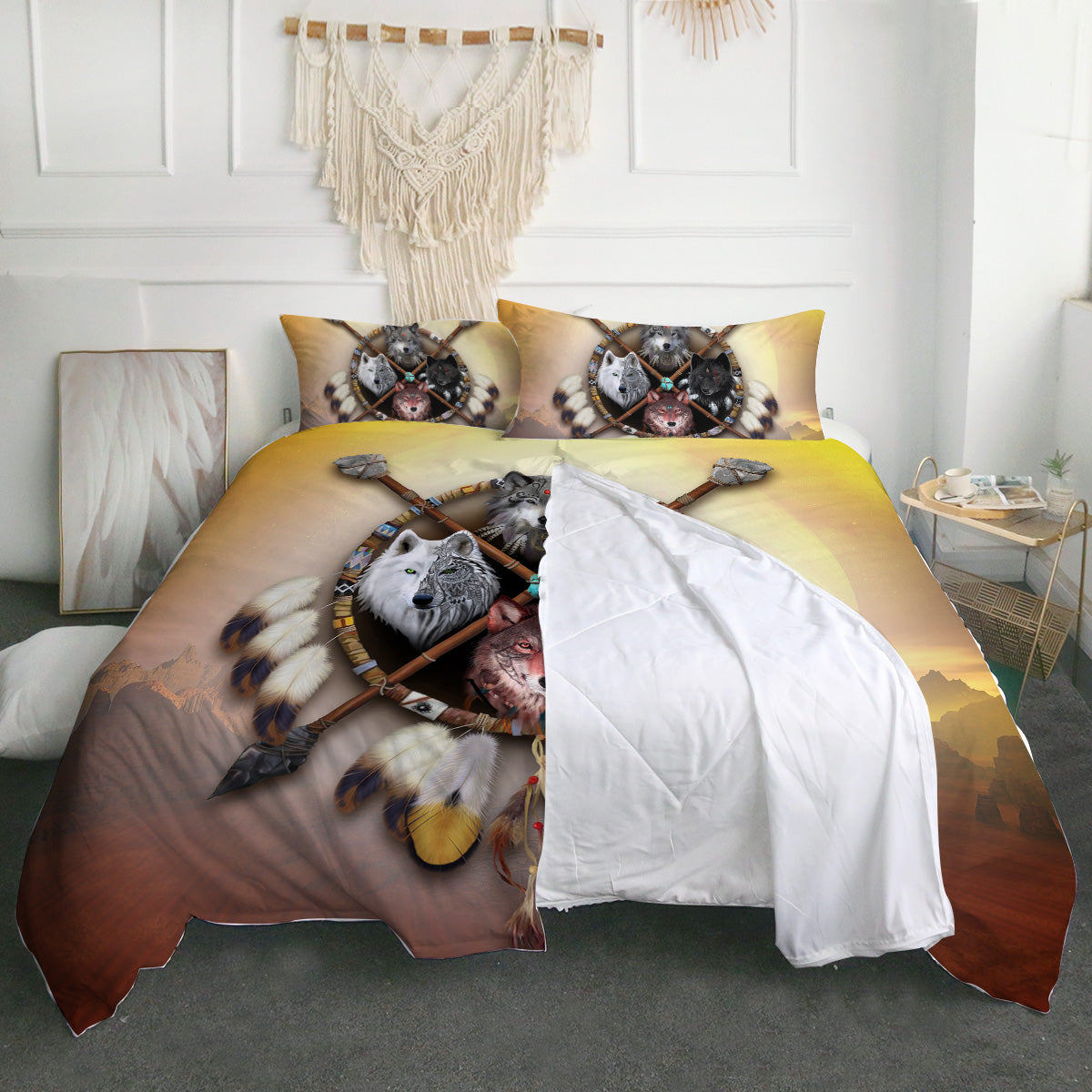 4 Wolves Warrior Light Zipper Closure Duvet Set