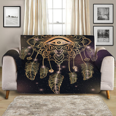 Dreamcatcher Purple/Black Quilted Sofa Cover