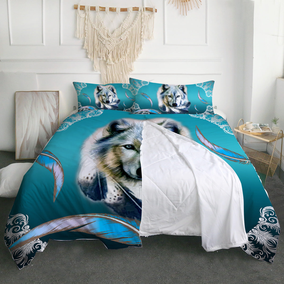 Turquoise Wolf Zipper Closure Duvet Set