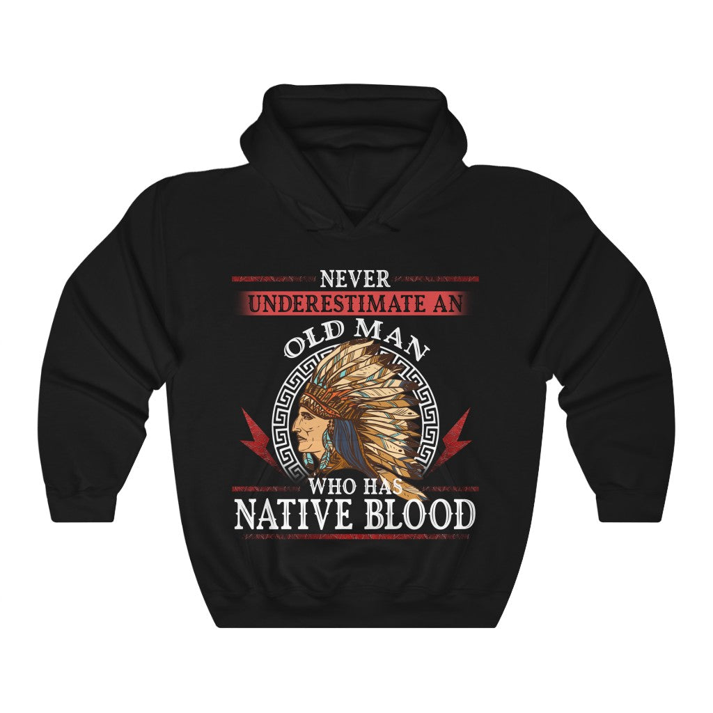 Old Man with a Native Blood Hooded Sweatshirt