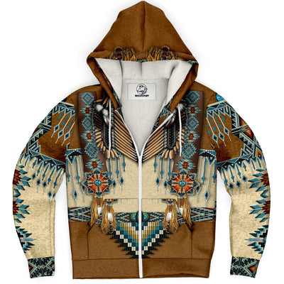 Micro fleece hoodie for men or women with unique designs inspired by wolves and native American culture, bright colors and details.