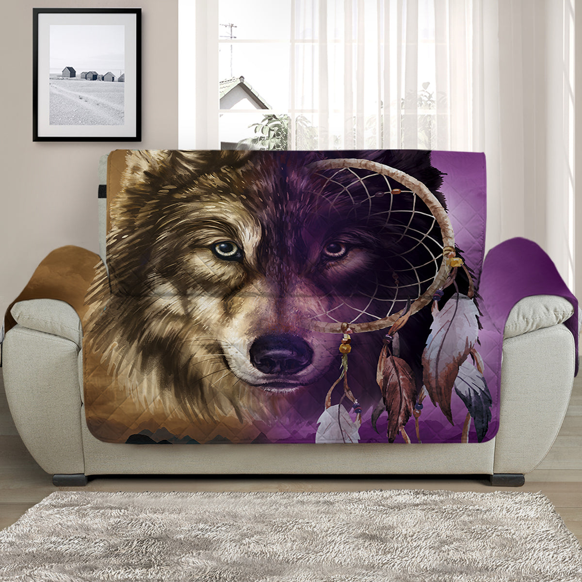 Wolf Dreamcatcher Face Quilted Cover for Sofa, Chairs, Futons & Recliners