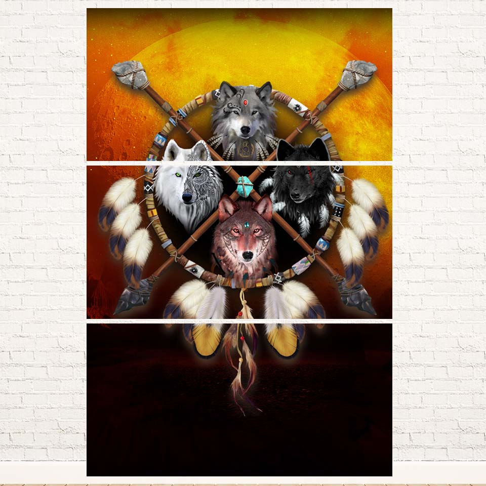 4 Wolves Warrior 3PC Canvas