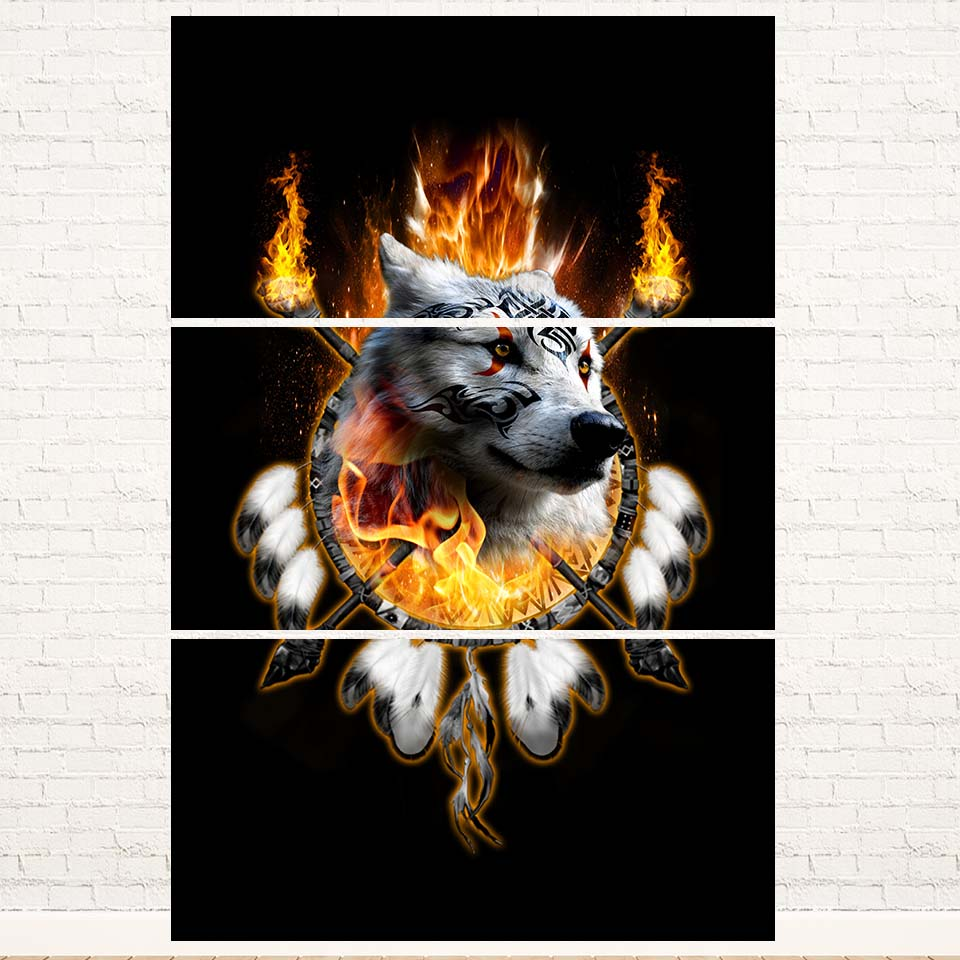 Fire Wolf Chief 3PC Canvas