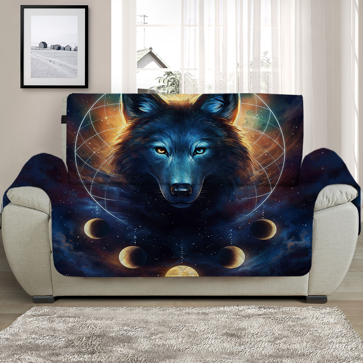 Dreamcatcher Wolf Quilted Quilted Cover for Sofa, Chairs, Futons & Recliners