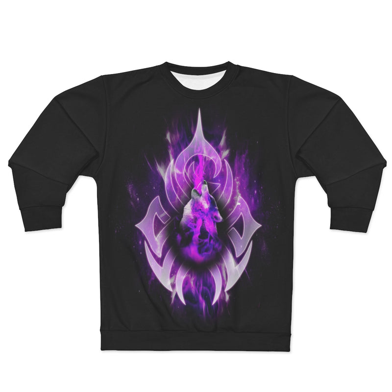 Purple Fire Wolf All Over Print Sweatshirt