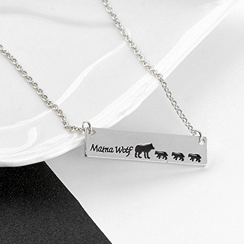 Mother Wolf with Baby Wolves Necklace