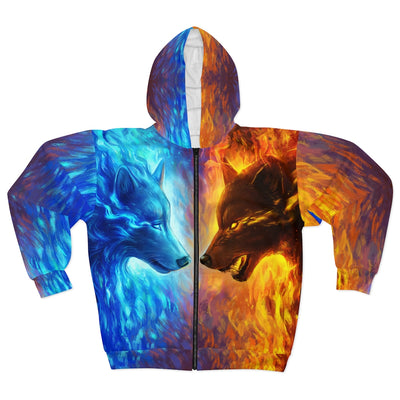 Fire and Ice by Jojoes Art All Over Print Zip Up Hoodie