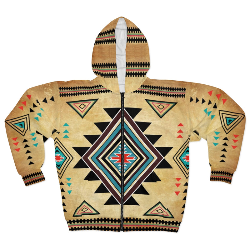 Native Inspired All Over Print Zip Hoodie