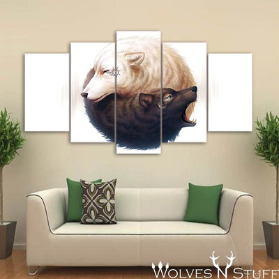YinYang Wolves by JojoesArt - 5pcs Canvas