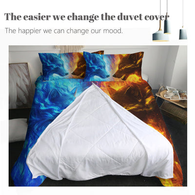 Fire And Ice Wolf Zipper Closure Duvet Set