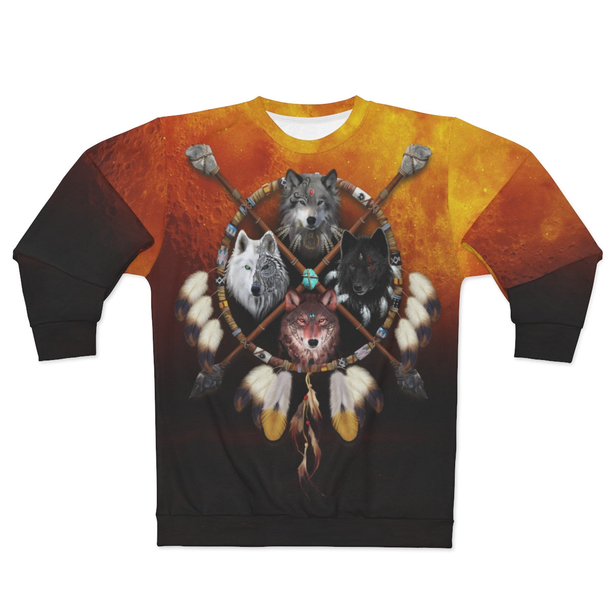 4 Wolves Warrior Dark All Over Print Sweatshirt