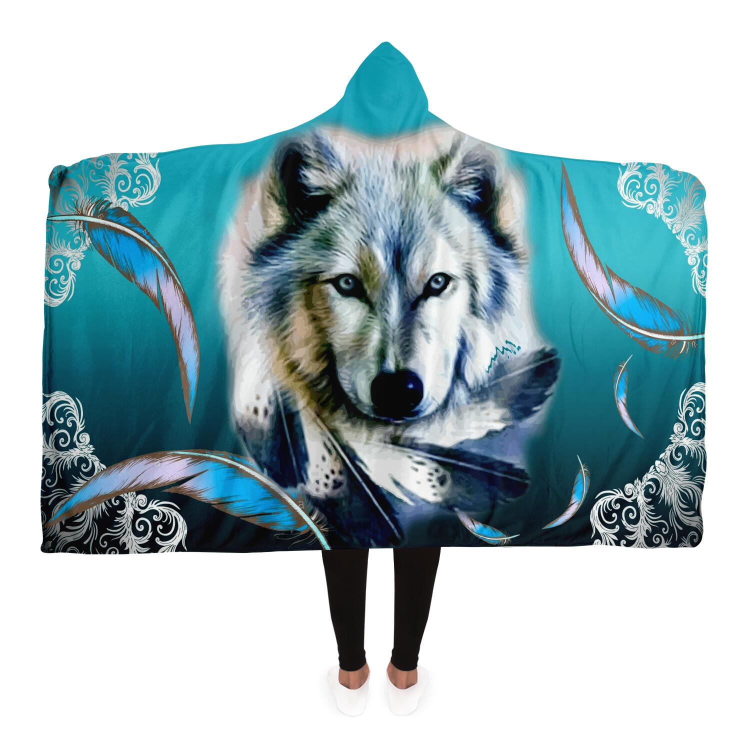 Turquoise Wolf Feather Hoodie Blanket