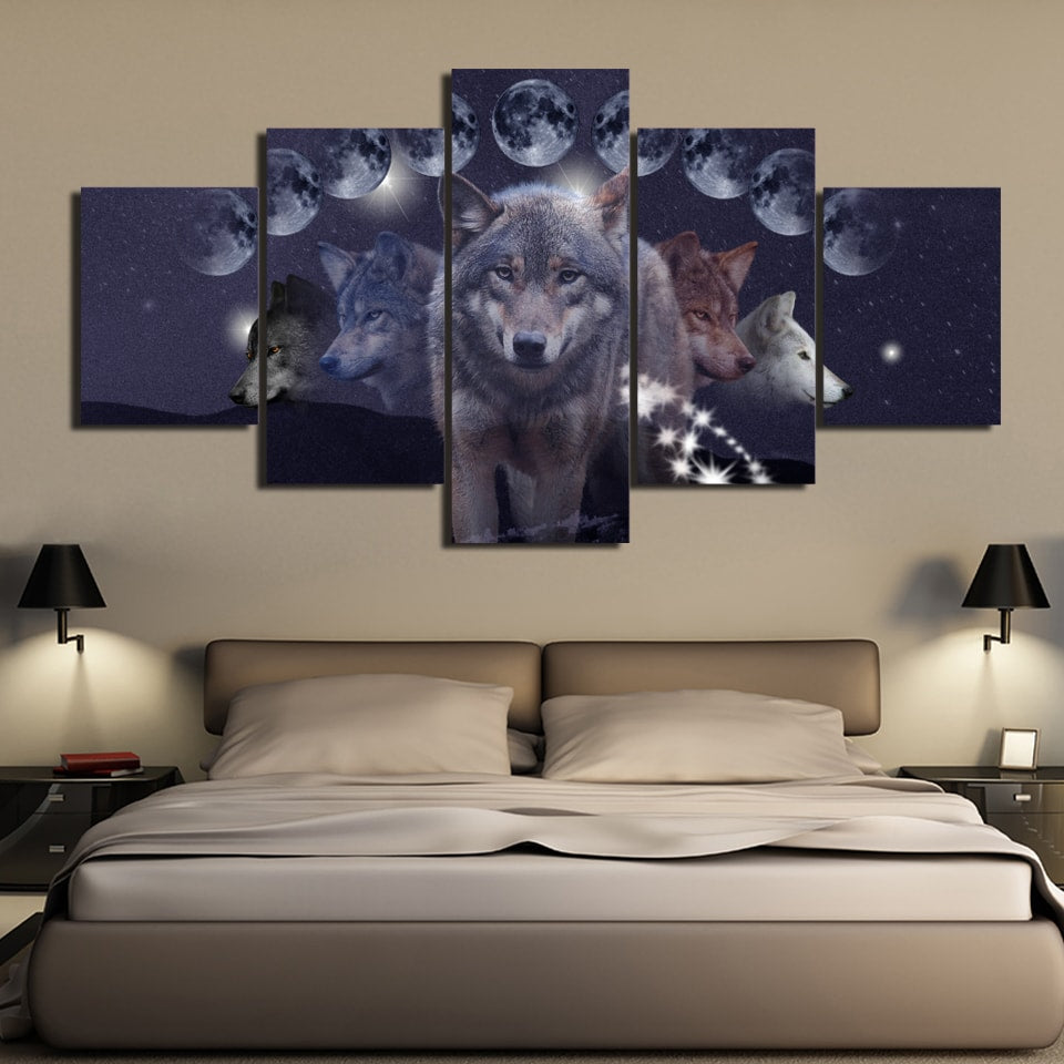 Phases of Luna Wolf 5PC Canvas