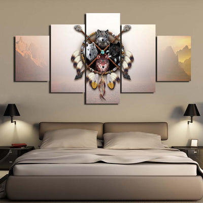 4 Wolves Warrior 5PC Canvas