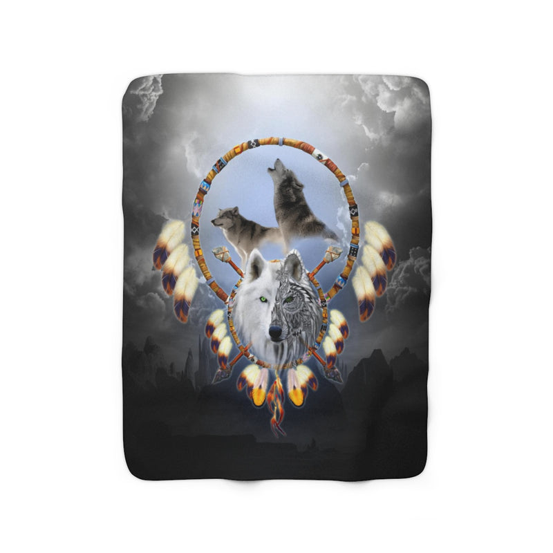 Omega Wolf Sherpa Fleece Blanket