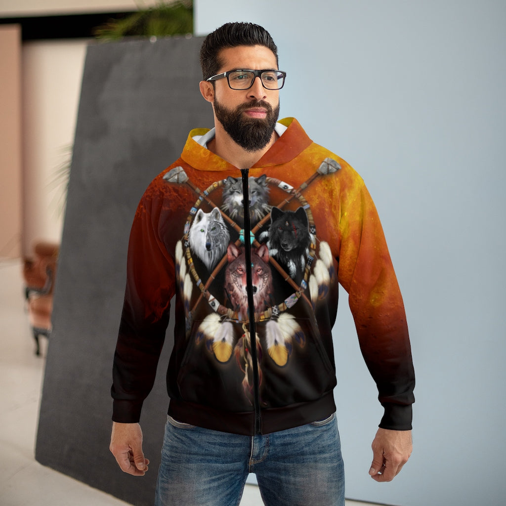 4 Wolves Warrior Dark All Over Print Zip Hoodie