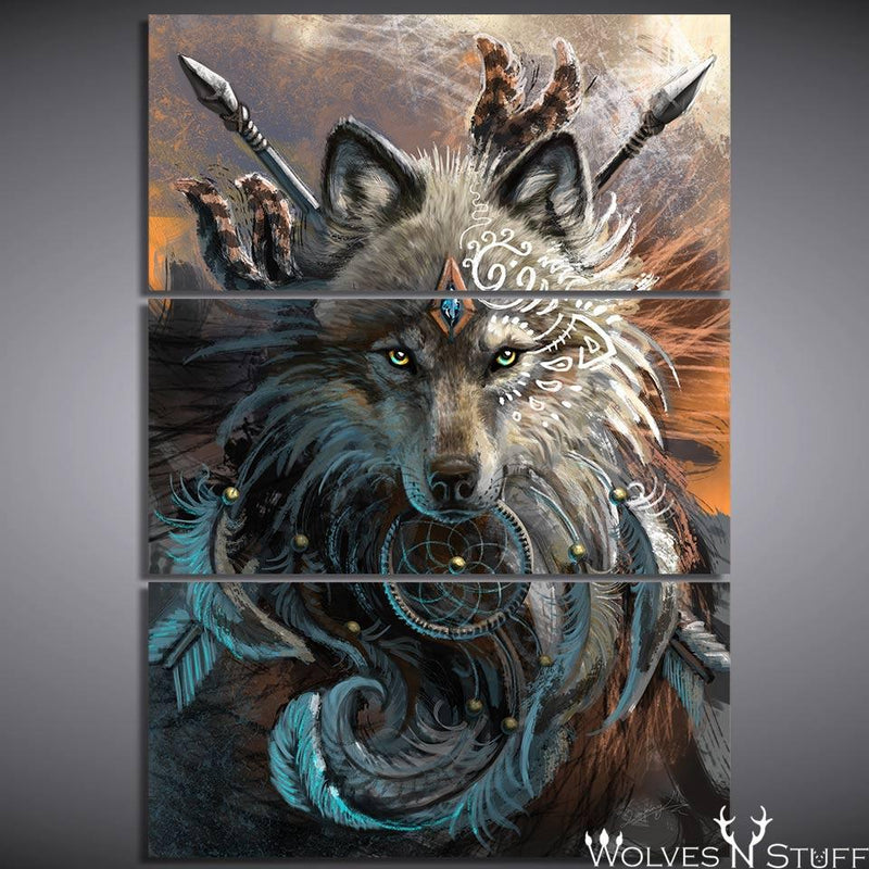 """Wolf Warrior"" by Sunima - 3pcs Canvas"