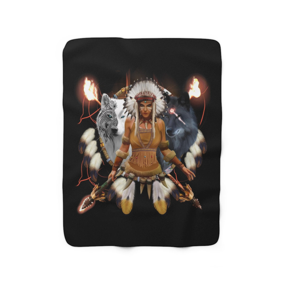 Scarlet Warrior With Hair Dress Sherpa Fleece Blanket
